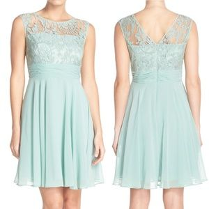 Adrianna Papell Illusion Lace Fit & Flare Dress